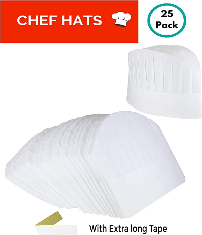 Disposable Paper Chef Hats 25 Pack Adjustable White Paper Chef Toques For Kids Adults Bakers Cooking Pizza Party Favors And Sushi By TiwiTiwi