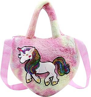 Cute Unicorn Rainbow Plush Purse for Little Girls, Kids Small Crossbody Shoulder Bag Novelty Wallet Handbag Satchel