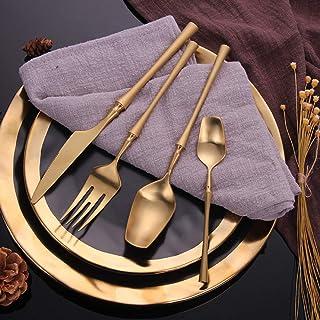YWDGZFB 16 قطعة من أدوات المائدة مجموعة أدوات المائدة الذهبية المحمولة
