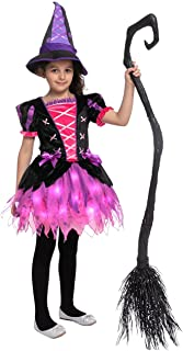 Spooktacular Creations Child Girl Pinky Witch Costume Tattered Tutu skirt for Halloween Events, Role Playing, Parties