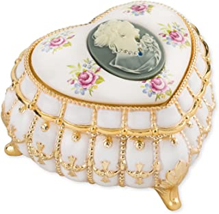 Pearl and Gold Tone with Swarovski Crystals Metal Heart Jewelry Music Box Plays My Heart Will Go On