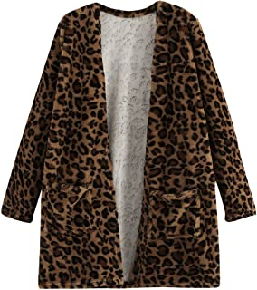 Milumia Women's Faux Fur Open Front Teddy Long Trench Coat Cardigan Outerwear Jacket with Pocket Multicolor Medium