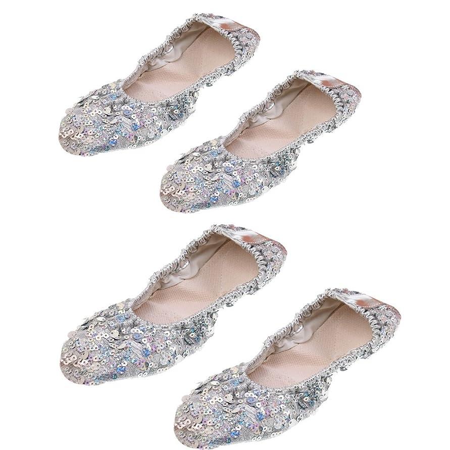 文句を言う生きる便宜Fenteer 室内靴 ダンスシューズ バレー シューズ ヨガ 練習靴  折り畳み 通気性 L+XL 2ペア入り