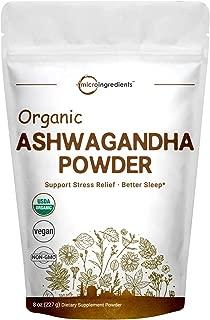 Pure Organic Ashwagandha Root Powder, 8 Ounce, Adaptogenic Ayurvedic Herbal Supplements for Stress Relief and Mood Balancing, Non-GMO and Vegan Friendly.