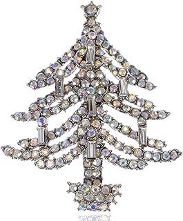Merry Christmas Colorful Crystal Rhinestone Daisy Flower Pine Tree Pin Brooch