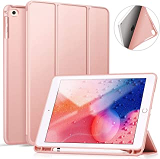 Ztotop Case for iPad 9.7 Inch 2018/2017 Case with Pencil Holder - Lightweight Soft TPU Back Cover with Auto Sleep/Wake, Protective for iPad 6/5th Generation,Rose Gold