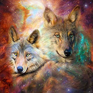 DIY 5D Diamond Painting Kits for Adults Full Drill Embroidery Paintings Rhinestone Pasted DIY Painting Cross Stitch Arts Crafts for Home Wall Decor 40x50cm/15.7x19.6Inches(Wolves)