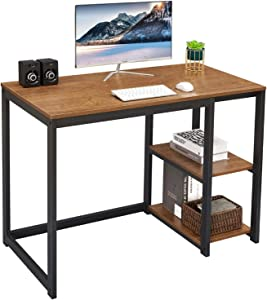 SINPAID Computer Desk 40 inches with 2-Tier Shelves Sturdy Home Office Desk with Large Storage Space Modern Gaming Desk Study Writing Laptop Table, Brown