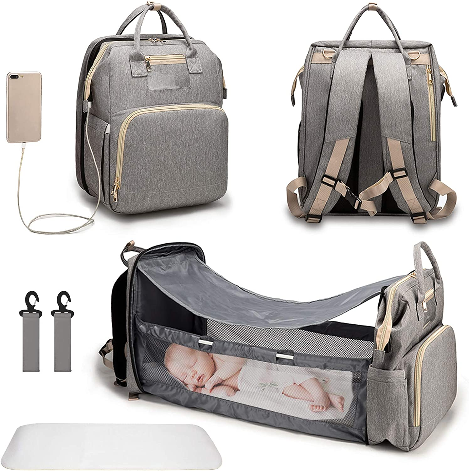 3 in 1 Diaper Bag Backpack, Travel Bassinet Foldable Baby Bed with USB Charging Port, Waterpoof, Portable Nappy Bag
