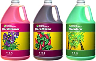 General Hydroponics Flora Grow, Bloom, Micro Combo Fertilizer, 1 gallon each, Pack of 3