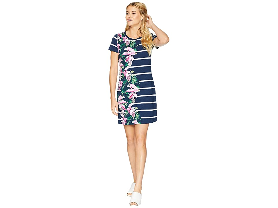 Tommy Bahama Magnifica Stripe T-Shirt Dress (Ocean Deep) Women's Dress, Blue