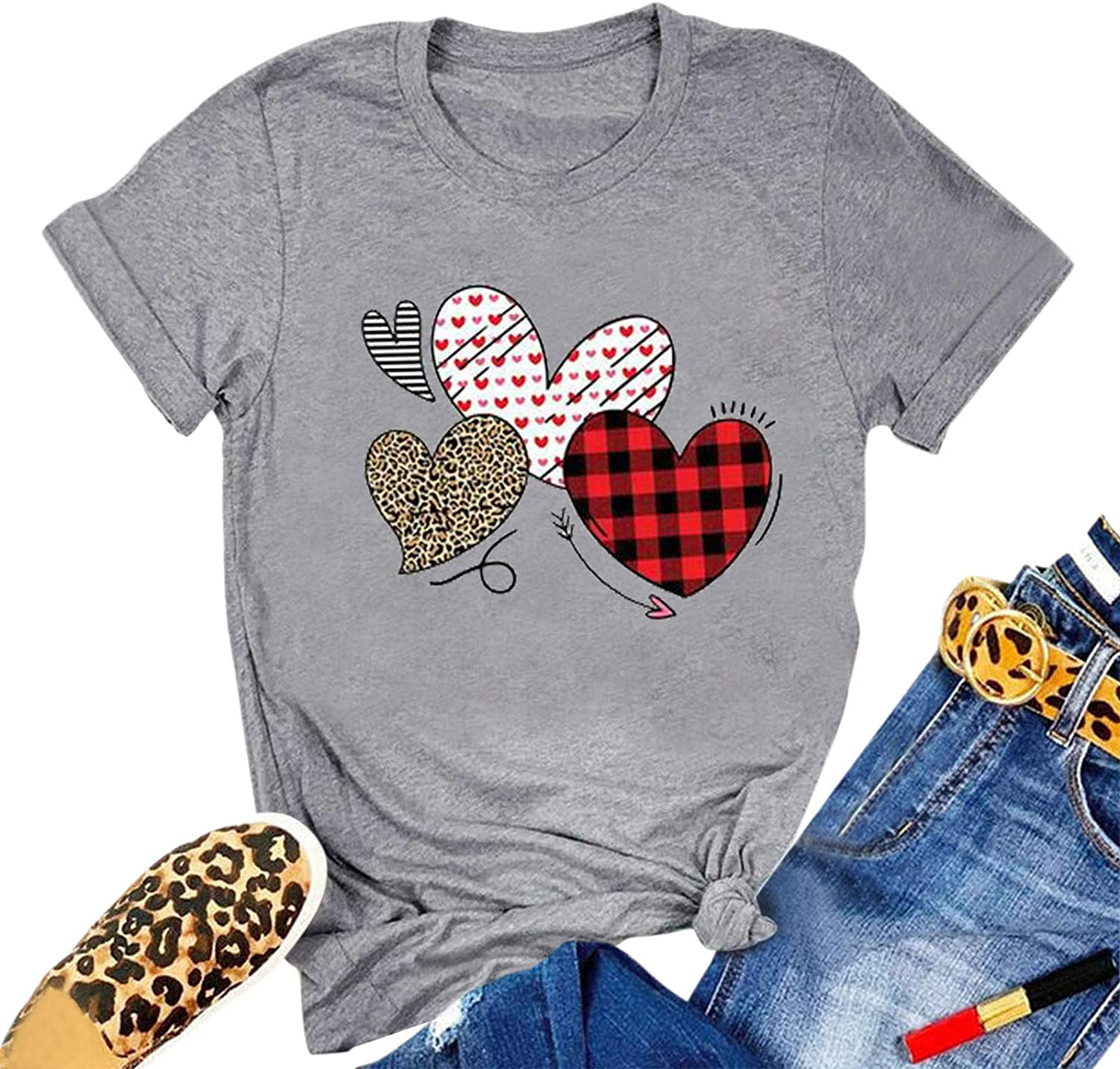 Valentine's Day Shirt for Womens,Womens Casual Valentine's Day Letter Graphic Short Sleeve T Shirts Tops Blouses 2021 New