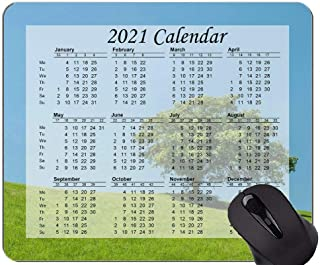 Mouse Pad 2021 Calendar,Hill Lonely Tree Green Mouse Pad Mat