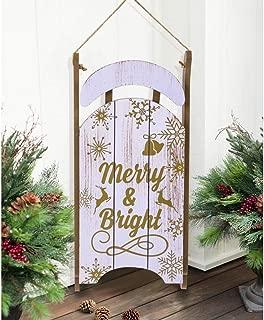 Juegoal Christmas Santa Sleigh Front Door Sign Wall Hanging Sled Wood Xmas Decoration, 17 Inch (H) x 8 Inch (L)