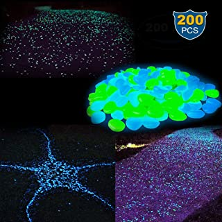 Glow in The Dark Pebbles Glowing Rocks Solar Stones【200 PCS】 for Fairy Garden Landscape Walkway Path Lawn Yard Flower Beds Potted Plant Aquarium Fish Tank Gravel Outdoor Decoration - (Blue & Green)
