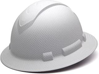 Pyramex Ridgeline Full Brim Hard Hat, 4-Point Ratchet Suspension, Matte White Graphite Pattern