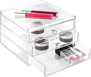 iDesign 3-Drawer Plastic Vanity Organizer, Compact Slim Storage Organization Drawers Set for Cosmetics, Dental Supplies, Hair Care, Bathroom, Dorm, Desk, Countertop, Office, 6.5