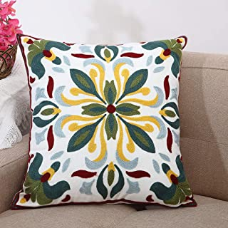 Oneslong Couch Pillows Covers 18x18 inch Decorative Embroidered Throw Pillows Covers for Sofa Living Room Farmhouse Yellow Floral Cushion Cases