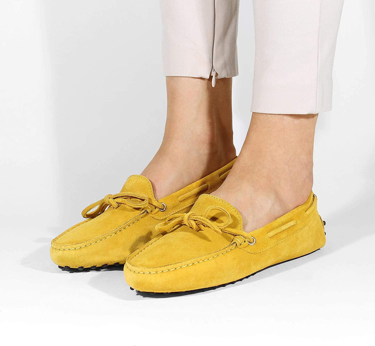 Aurélien Suede Leather Driving Shoes | Women's Moccasins | Suede Leather Flat Loafer Ladies Shoes Yellow