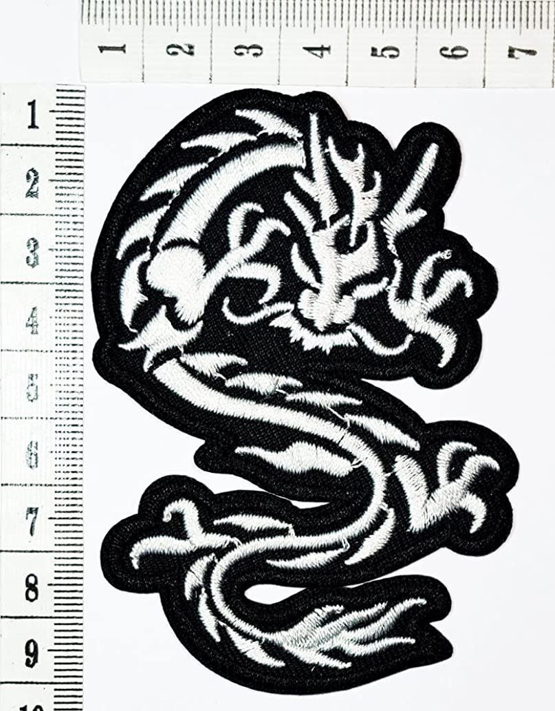 gray Chinese Japanese Dragon Lucky Animal Tattoo patch Motorcycle Bike Iron patch/Sew On Patch Clothes Bag T-Shirt Jeans Biker Badge Applique
