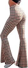 doublebabyjoy Women Leopard Print High Waist Flare Pants Lady Floor-Length Bell Bottom Autumn Winter Wide Leg Trousers