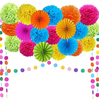 Fiesta Party Supplies Fiesta Party Decorations Pom Poms,Folding Fans,Garland,for Festival
