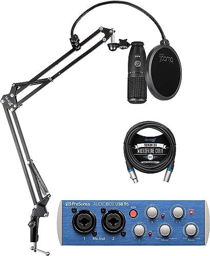 wholesale AKG P120 discount Large-Diaphragm Condenser Microphone for Vocals and Instruments Bundle with PreSonus AudioBox USB 96 2x2 USB Audio Interface Blucoil online Boom Arm Plus Pop Filter and 10-FT Balanced XLR Cables sale