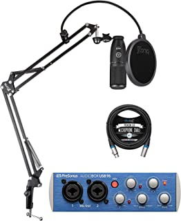 AKG P120 Large-Diaphragm Condenser Microphone for Vocals and Instruments Bundle with PreSonus AudioBox USB 96 2x2 USB Audi...