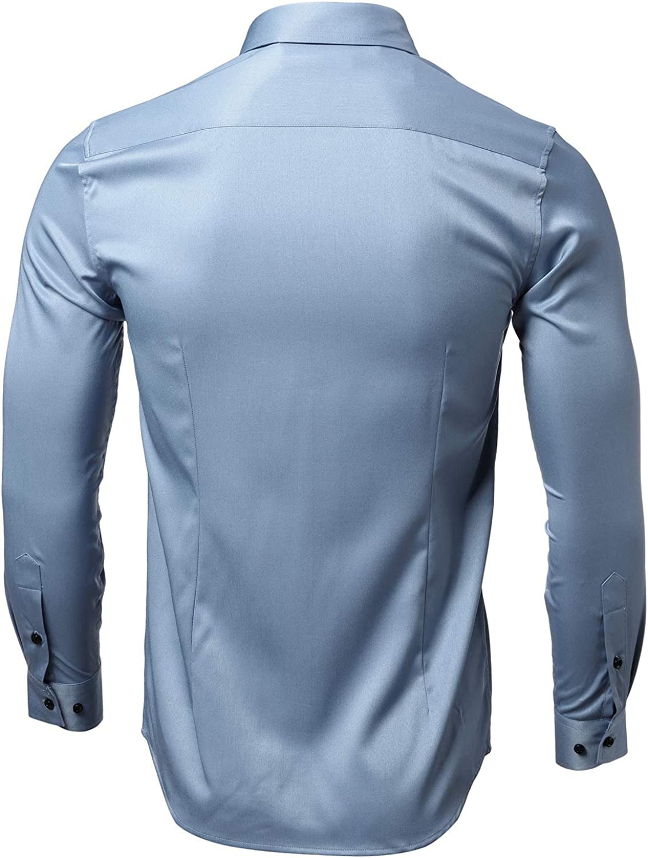 INFLATION Mens Dress Shirts Slim Fit Long Sleeve Bamboo Casual Formal Shirt Button Down Work Shirts Men