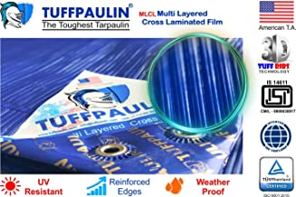 TUFFPAULIN (40x40 ft, Blue) Tarpaulin Sheet Waterproof |UV Treated|Multi Layered-Cross Laminated|Virgin Plastic Extra Strong Tirpal Tarpal IS14611:2016 Approved (120 GSM)