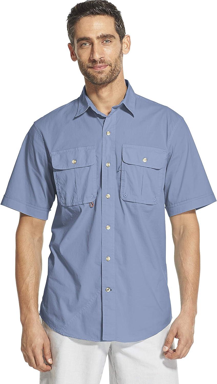 Izod Mens Saltwater Surfcaster Button Down Short Sleeve Solid Shirt Button Down Shirt