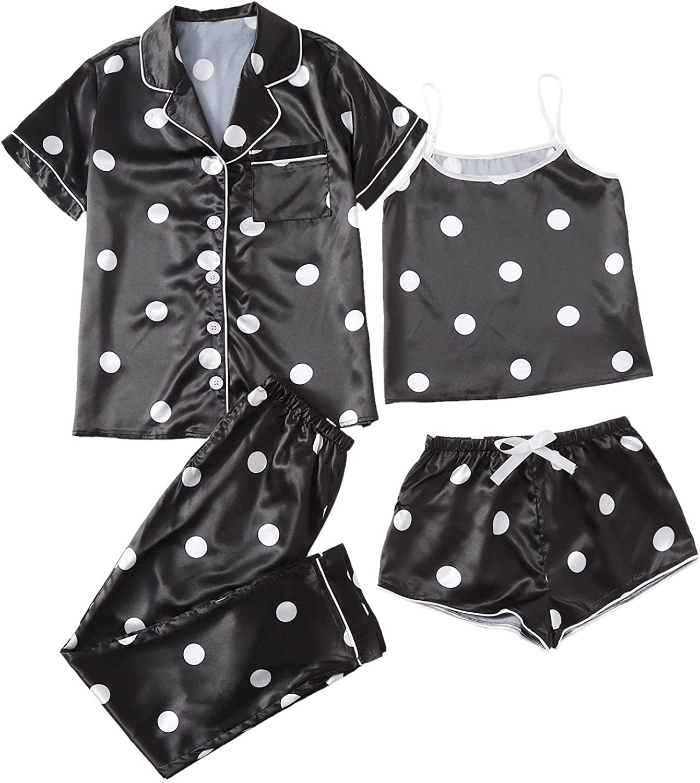 WDIRARA Women's Sleepwear 4pcs Satin Pajama 輸入 Cami 高級品 Set Shirt with