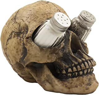 Scary Evil Human Skull Salt and Pepper Shaker Set Figurine Display Stand Holder for Spooky Halloween Party Decorations & Gothic Kitchen Decor Collectible or Novelty Gifts by Home-n-Gifts