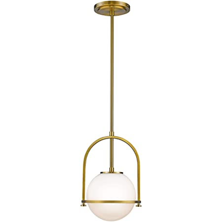 Modern Globe Pendant Lights Lms 1 Light Hanging Light Fixture Brushed Brass Finished With White Globe Glass Lampshade Lms 013 Amazon Com