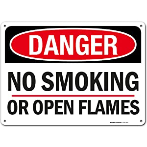 """Danger No Smoking Sign Or Open Flame, 10"""" x 14"""" Industrial Grade Aluminum, Easy Mounting, Rust-Free/Fade Resistance, Indoor/Outdoor, USA Made by MY SIGN CENTER"""