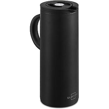 SILBERTHAL Isolierkanne 1 Liter - Doppelwandige Thermoskanne für Kaffee und Tee - Glaseinsatz - Edelstahl - Schwarz