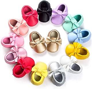 Newborn Baby Boys Girls Soft Soled Tassel Bowknots Crib Infant Toddler Prewalker Moccasins Shoes