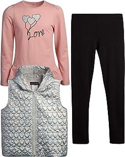 Girls Vest Set - Long Sleeve T-Shirt, Leggings, and Vest