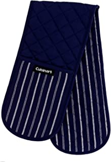Cuisinart Quilted Double Oven Mitt, Twill Stripe, 7.5 x 35 inches - Heat Resistant Oven Gloves to Protect Hands and Arms - Great Set for Cooking, Baking, and Handling Hot Pots and Pans- Navy Aura