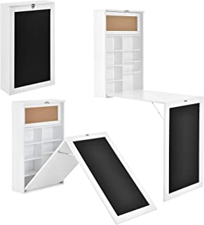 [en.casa] Table Murale Pliable Bureau Mural Rabattable MDF Blanc 156 x 50 x 91,5 cm