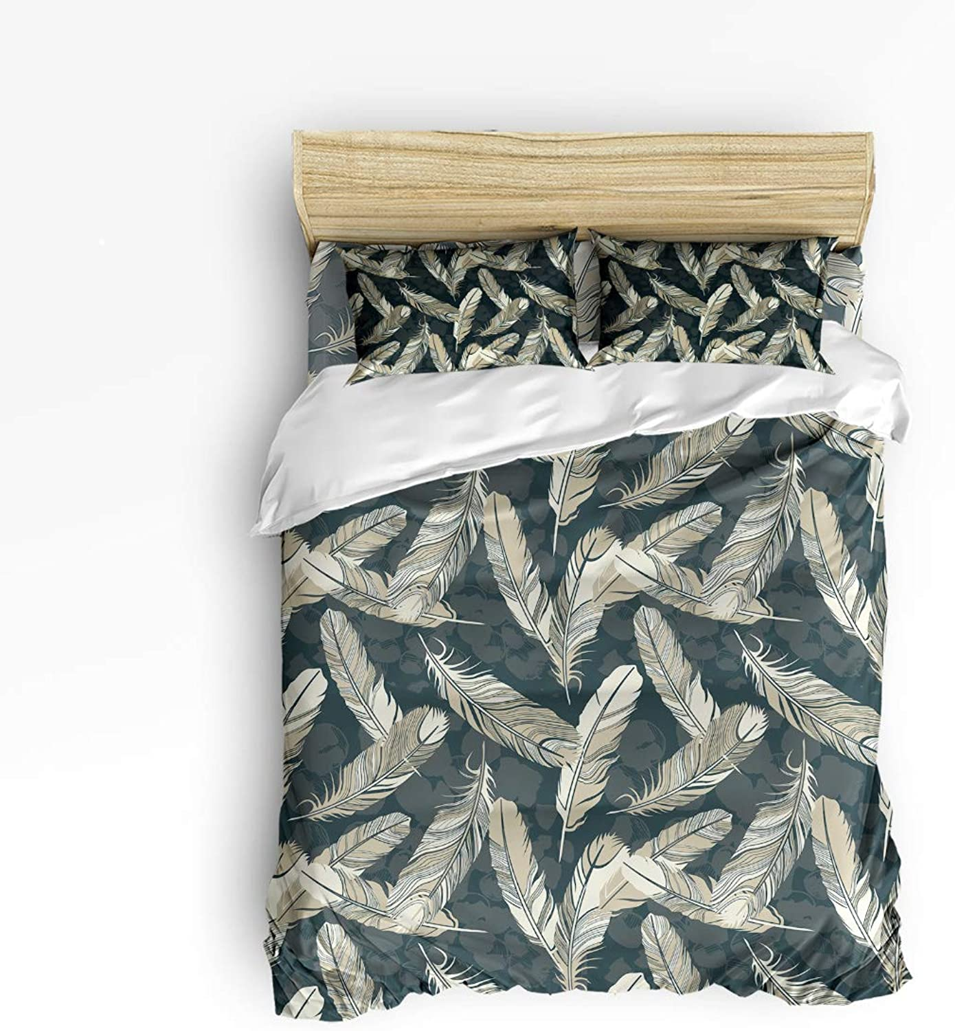 Fandim Fly Bedding Set Full Size Fallen Feathers,Comforter Cover Sets for All Season