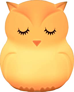 NIGHT LIGHT OWL.Luz nocturna infantil portátil y recargable usb,de 9 colores,luz quitamiedos bebe LED multicolor con mando. lampara mesa infantil,Silicona suave y lavable