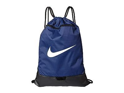 Nike Brasilia Gym Sack 9.0 (Midnight Navy/Black/White) Backpack Bags