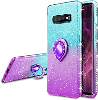 VEGO Galaxy S10 Glitter Gradient Ombre Case with Ring Holder Kickstand for Women Girls Bling Diamond Rhinestone Sparkly Bumper Fashion Shiny Cute Protective Case for Samsung Galaxy S10(Teal Purple)