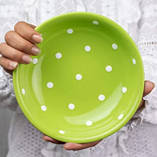 City to Cottage Handmade Lime Green and White Pottery Polka Dot Glazed 7.3inch/18.5cm, 14oz/400ml Salad, Pasta, Fruit, Cereal, Soup Bowl | Unique Ceramic Dinnerware, Housewarming Gift