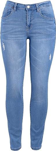 بنطلون جينز نسائي كلاسيكي من HONTOUTE عالي الخصر حتى أسفل الأرداف 4 اتجاهات مطاطي عصري ضيق