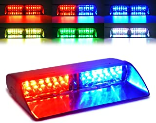 Xprite RGB High Intensity LED Law Enforcement Emergency Hazard Warning Strobe Lights For Interior Roof/Dash/Windshield With Suction Cups