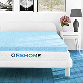 GREHOME Mattress Topper Twin, 2 Inch Gel Infused Memory Foam Mattress Topper, Mattress Topper for Twin Bed, 38 x 74 x 2 inches (97 x 188 x 5.08 cm)