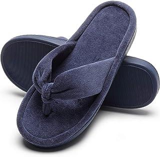 Slippers for Women, Memory Foam Non-slip Open Toe Slippers Cozy Bedroom House Indoor Velvet Lining Womens Slippers Flip Flops