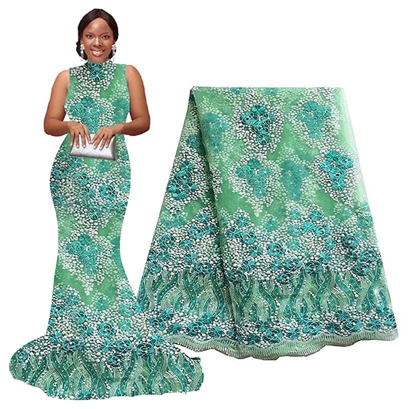 African Lace Fabrics Nigerian French Beaded Tulle Fabric 5 Yards (Green)